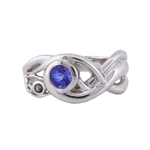 18kt Fairtrade White Gold Art Nouveau Ring-Rachel Helen Designs-JewelStreet US