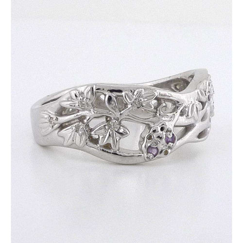 9kt Fairtrade White Gold Flower Ring-Rachel Helen Designs-JewelStreet US