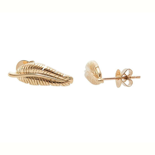 Banana Leaf Gold Stud Earrings-Betty Balaba-JewelStreet US