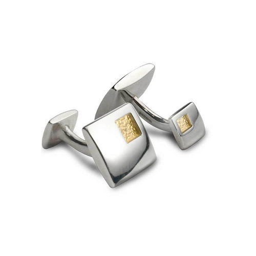 Silver & 18kt Yellow Gold Square Window Cufflinks ,[product vendor],JewelStreet