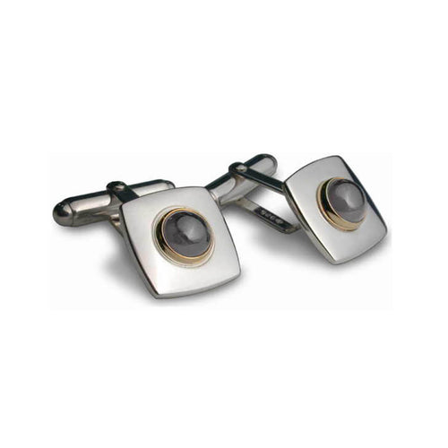 Silver & 9kt Yellow Gold Gem Square Cufflinks ,[product vendor],JewelStreet