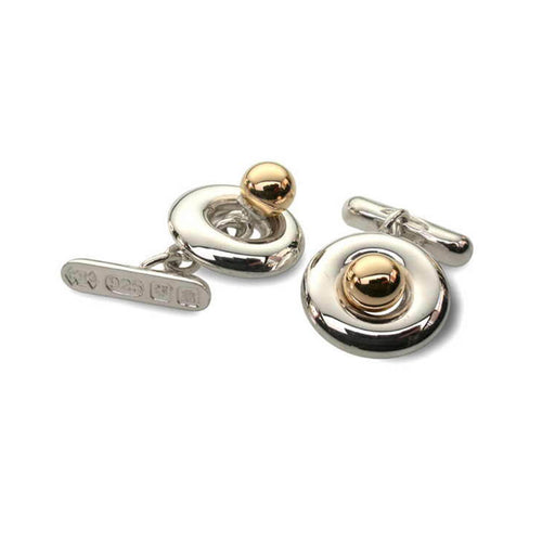 Silver & 9kt Yellow Gold Polo Cufflinks ,[product vendor],JewelStreet