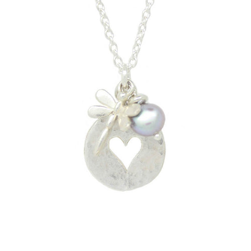 Dragonfly Heart Disc Silver Pearl Necklace