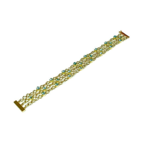 18kt Yellow Gold Catena Bracelet with Aquamarines-Serena Fox-JewelStreet US