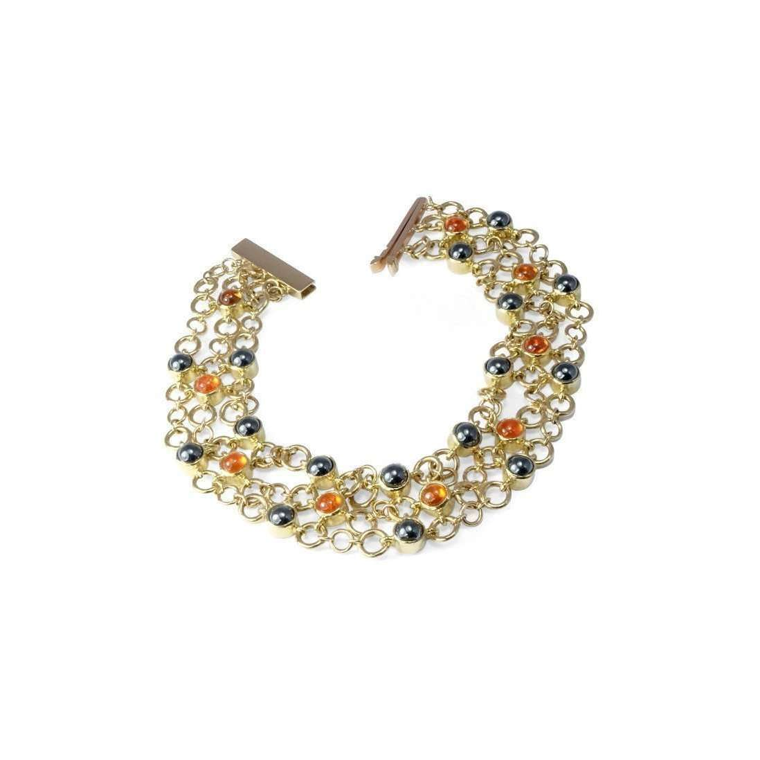 18kt Yellow Gold Catena Bracelet With Garnet-Serena Fox-JewelStreet US