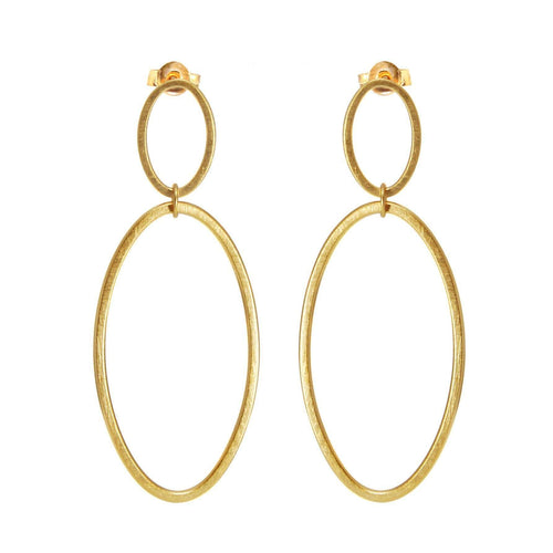 Gold Cadence Double Drop Earrings-Heather O Connor-JewelStreet US
