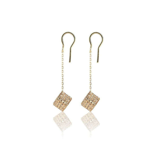 Champagne Diamond Cube Drop Earrings-Loushelou-JewelStreet US