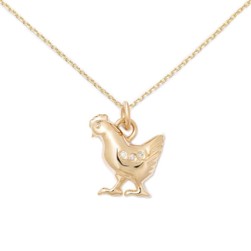 14K Gold + Diamond Chicken Necklace-Delicacies Jewelry-JewelStreet US