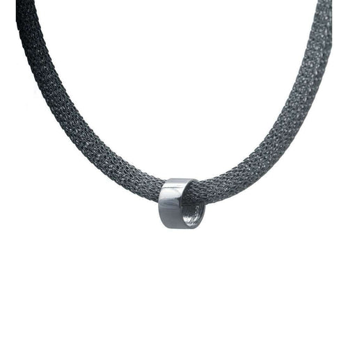 Circular Bead Mesh Necklace-Edge Only-JewelStreet US
