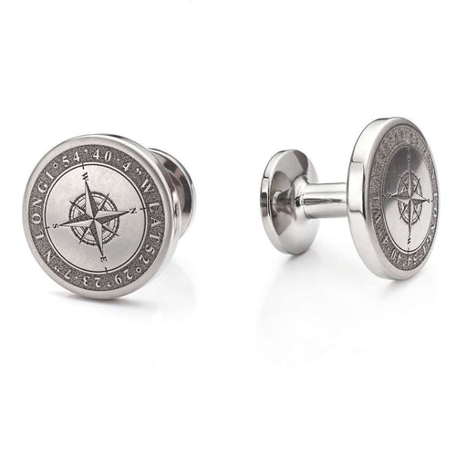 Personalised Compass Engraved Cufflinks-Serendipity Diamonds-JewelStreet US
