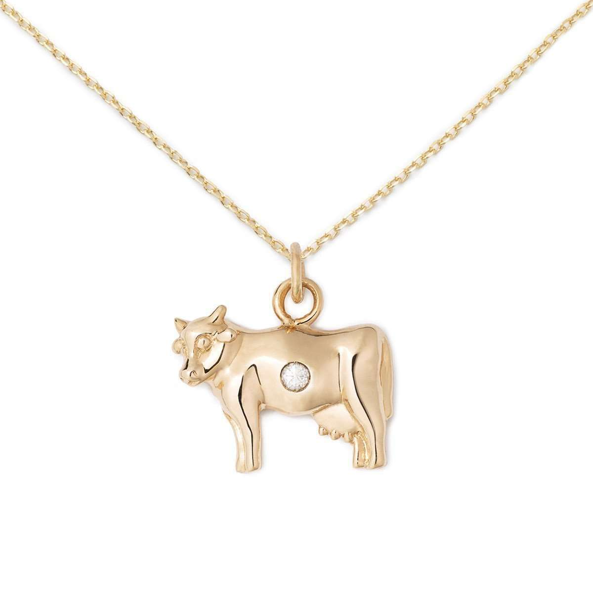 14K Gold + Diamond Cow Necklace-Delicacies Jewelry-JewelStreet US