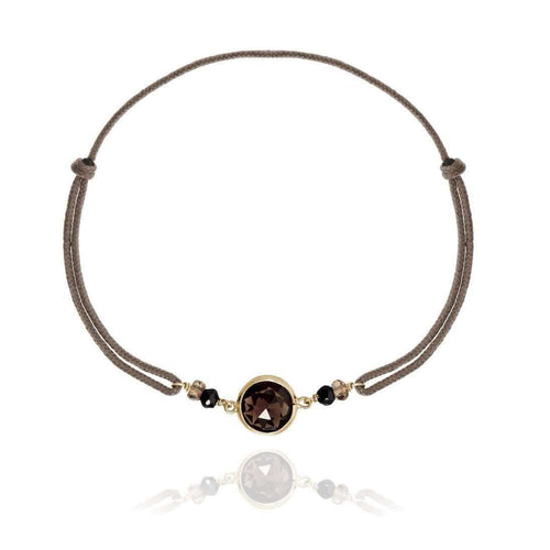 18kt Yellow Gold Cord Bracelet Smoky Quartz-Perle de Lune-JewelStreet US
