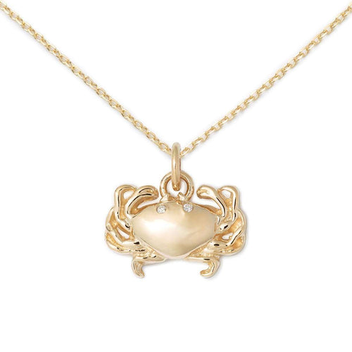 14K Gold + Diamond Crab Necklace-Delicacies Jewelry-JewelStreet US
