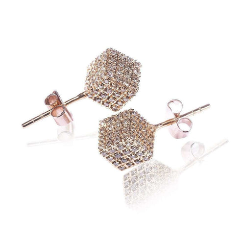 Rose Gold Champagne Diamonds Cube Studs-Loushelou-JewelStreet US