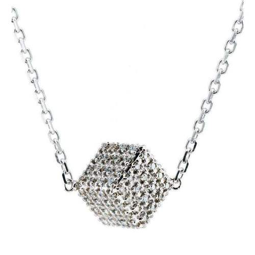 White Diamond Cube Pendant-Loushelou-JewelStreet US