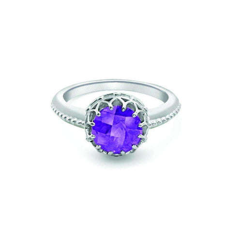 Bloomsbury White Gold Amethyst Coronation Ring-Rings-London Road Jewellery-JewelStreet