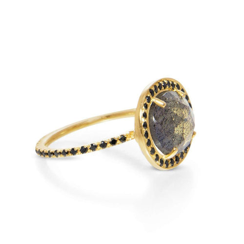 Delilah Labradorite and Black Diamond Ring-Liz Phillips-JewelStreet US