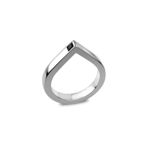 14kt White Gold Spot Ring With Black Diamond ,[product vendor],JewelStreet