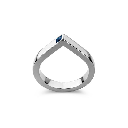 14kt White Gold Spot Ring With Blue Sapphire ,[product vendor],JewelStreet