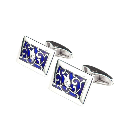 Edua Elegant Cufflinks Deep Blue-Diuss Fine Jewelry-JewelStreet US