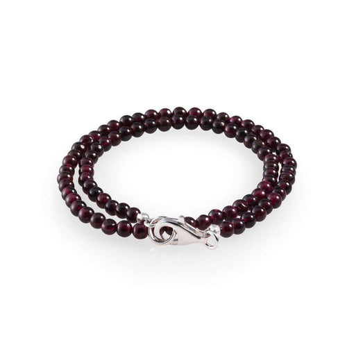 Double Red Garnet Men's Bracelet-Loushelou-JewelStreet US