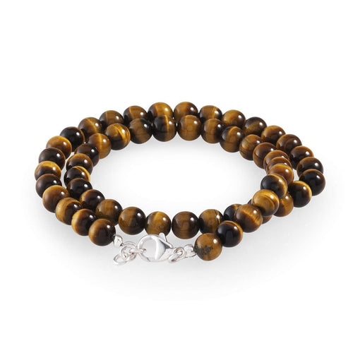 Men's Tiger Eye Double Bead Bracelet-Loushelou-JewelStreet US