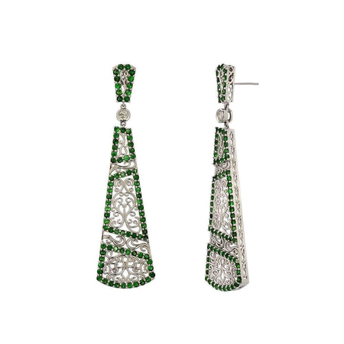 """Trellis Vine"" Earring with Tsavorite Garnet and Diamonds"