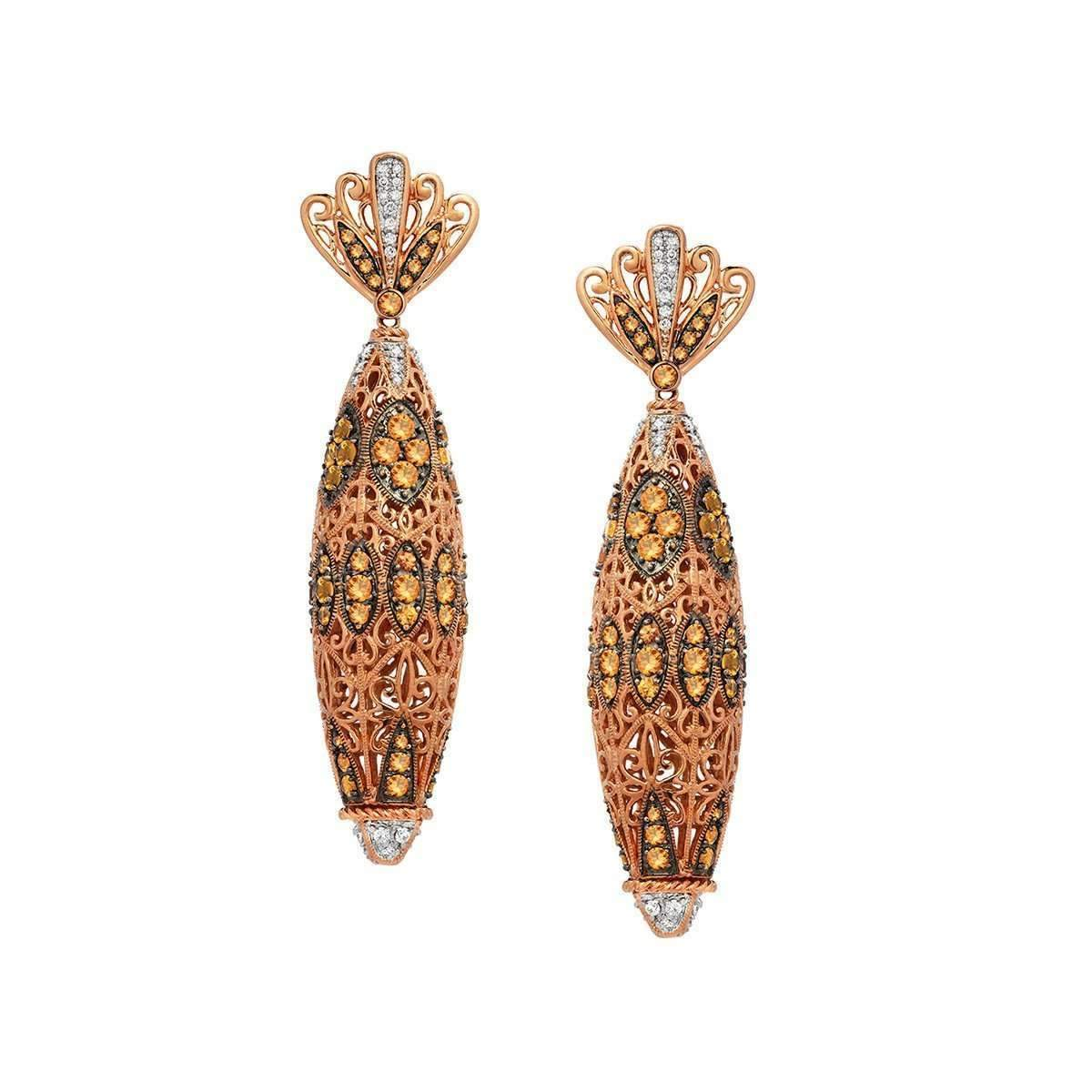 """Mosaic"" Earring with Golden Sapphire and Diamonds"