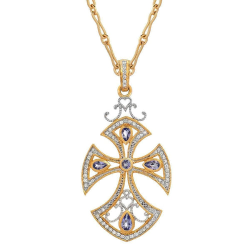 """Renaissance"" Cross with Tanzanite and Diamonds"