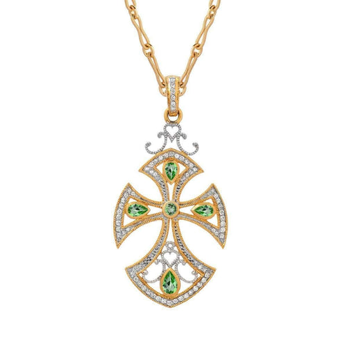 """Renaissance"" Cross with Tsavorite Garnet and Diamonds"