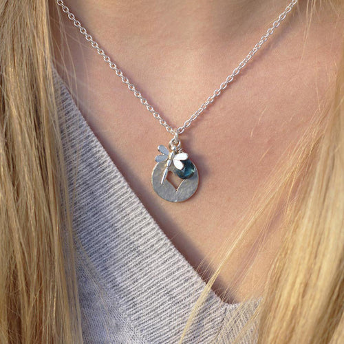 Dragonfly Heart Disc London Blue Topaz Necklace