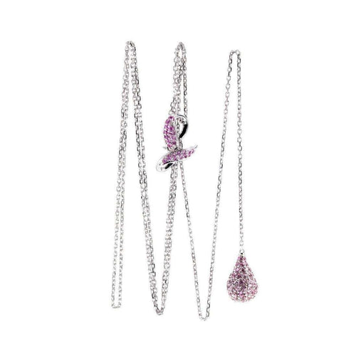 Pink Sapphire Drop Necklace-Loushelou-JewelStreet US