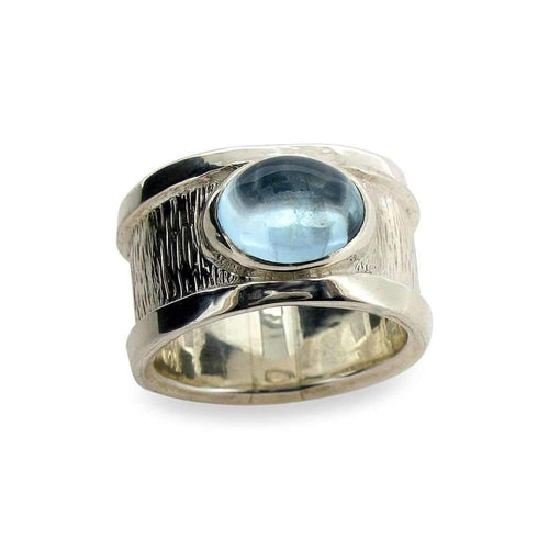 Drum Ring with One Stone-Rings-Will Bishop-JewelStreet