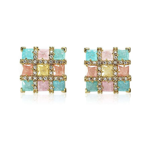 Colourful Square Earrings-Cielle London-JewelStreet US