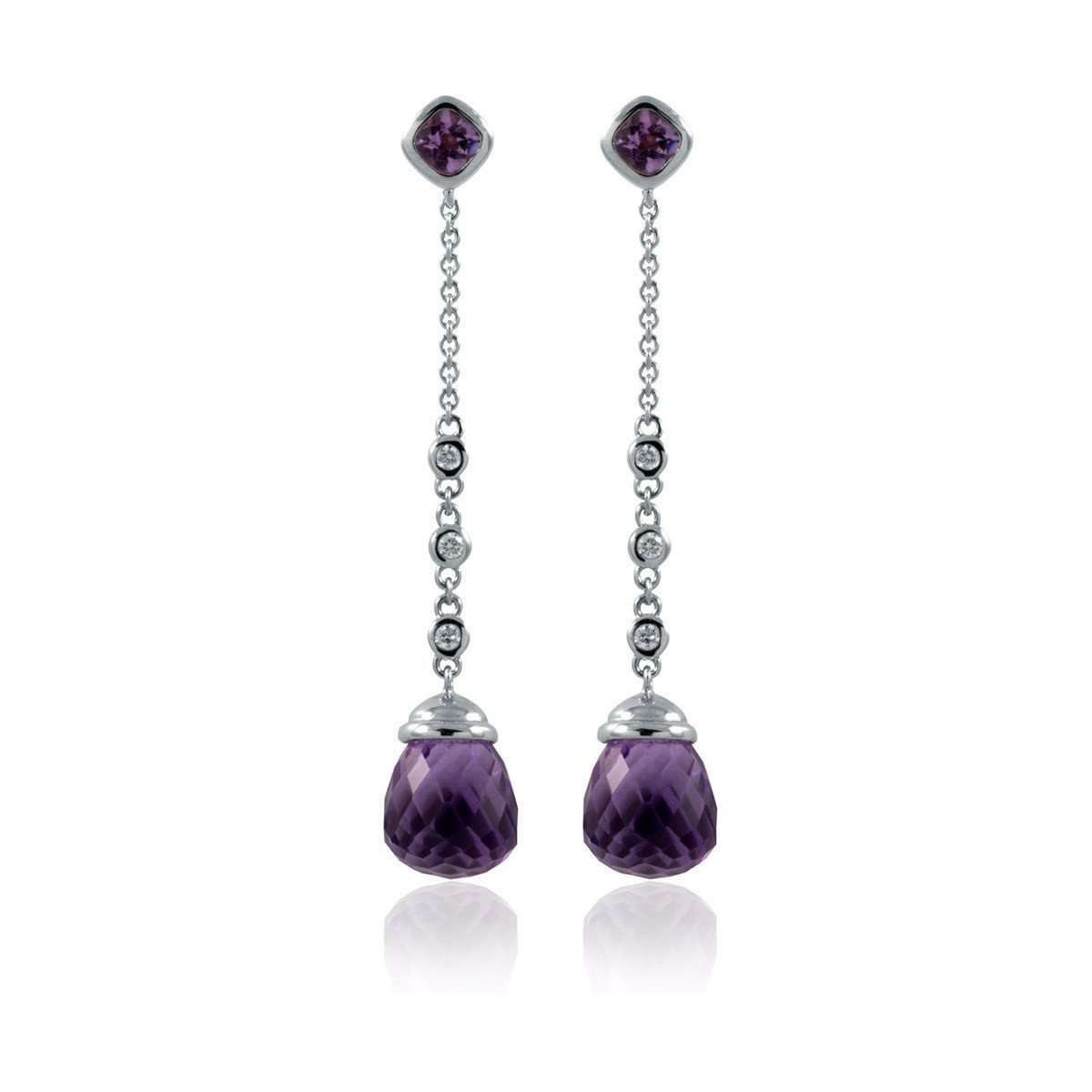 Ella White Gold Amethyst Earrings-Estenza-JewelStreet US