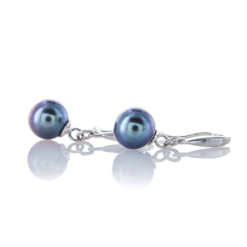 Black Freshwater Pearl Fine Quality Silver Earrings-Brian Gavin Diamonds-JewelStreet US
