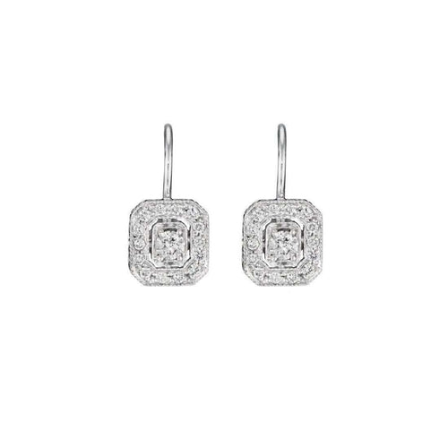 Engraved Diamond Emerald French Wire Earrings