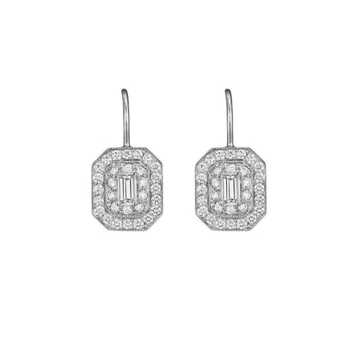 Diamond Earring with Emerald Cut Center Stone