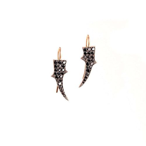 Black Diamond Thorn Earrings-Sylva & Cie-JewelStreet US