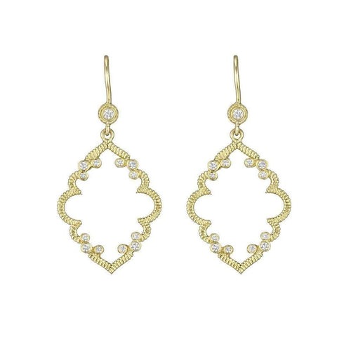 Diamond Accent Arabesque Earrings on Bezel French Wire