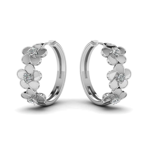Blossom Delight Hoop Earring in 10kt White Gold-Diamoire Jewels-JewelStreet US