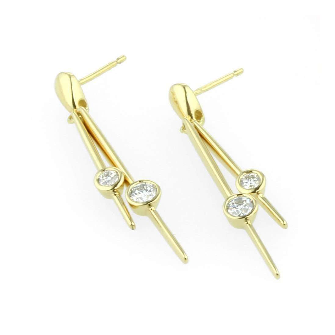 18kt Gold Double Diamond Earrings-Prism Design-JewelStreet US