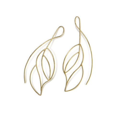 Gold Plated Frond Earring-Janice Zethraeus-JewelStreet US