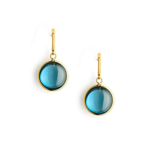 18kt London Blue Topaz Chakra Earrings-Syna-JewelStreet US