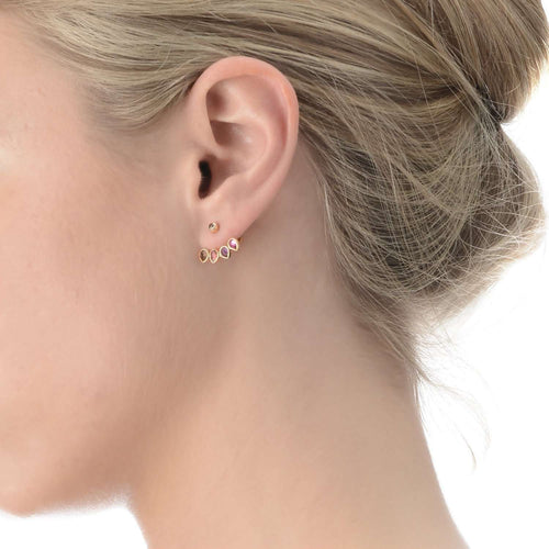 Yellow Gold Ear Stud with Jacket Mosaik-Perle de Lune-JewelStreet US
