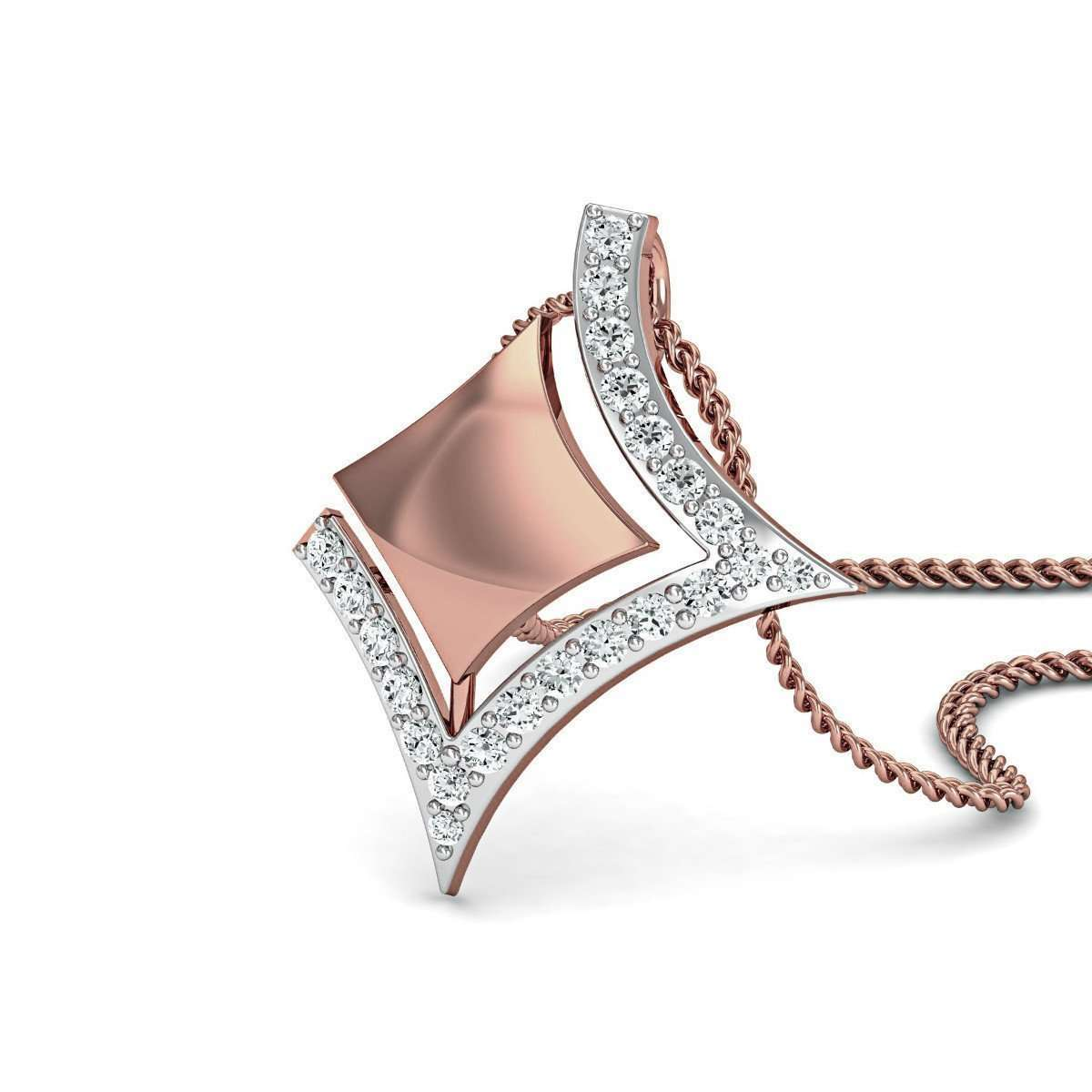 Electrifying Diamond Pendant in 10Kt Rose Gold-Diamoire Jewels-JewelStreet US