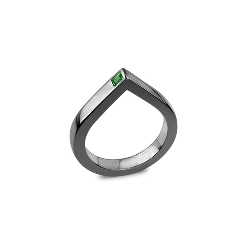 14kt Gold Diamond Spot Ring With Emerald ,[product vendor],JewelStreet