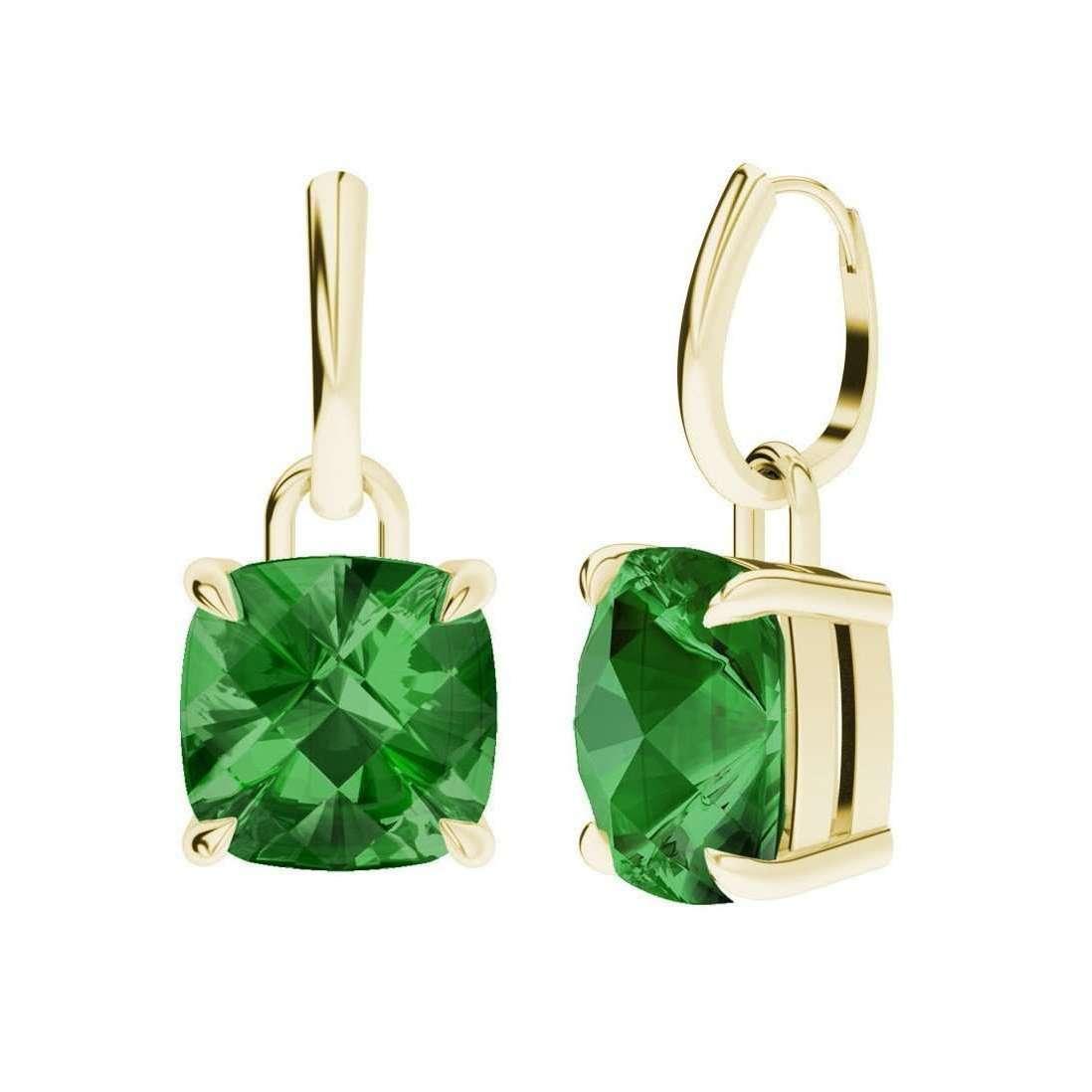 Hydrothermal Emerald 9kt Gold Checkerboard Drop Earrings