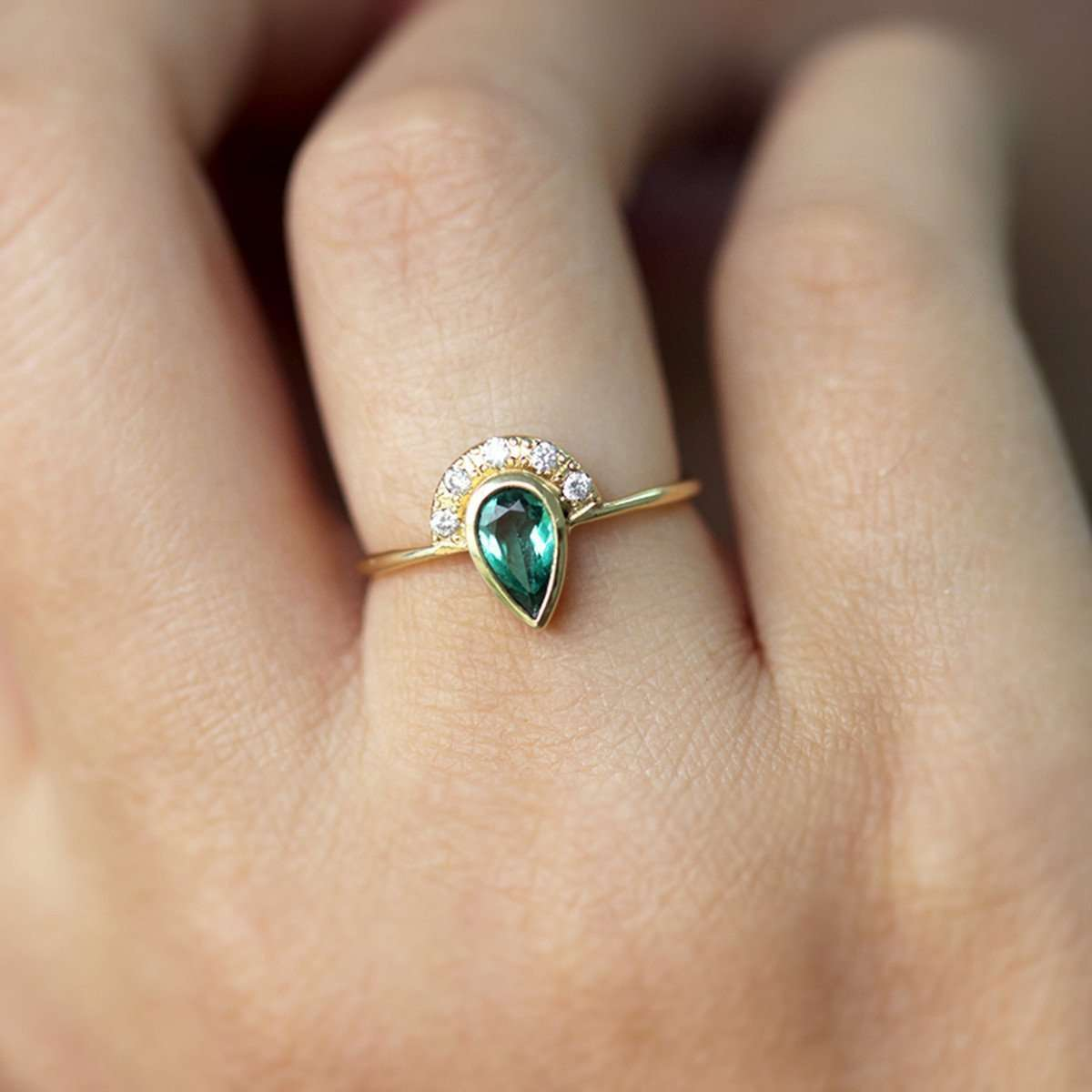 Emerald Engagement Ring with Pave Diamonds Crown-ARTEMER-JewelStreet US