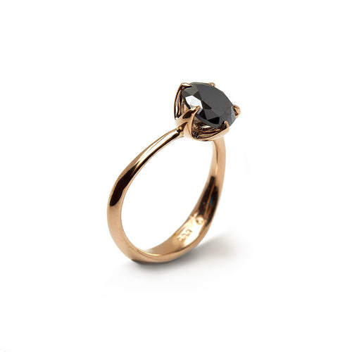 14kt Rose Gold Molten Engagement Ring With Black Moissanite ,[product vendor],JewelStreet